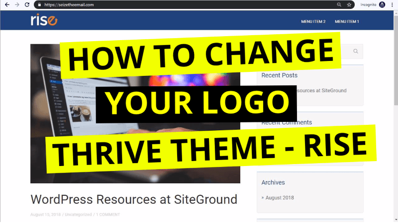 how to change logo in thrive themes rise