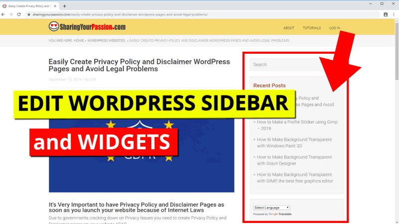 Edit main sidebar and widgets
