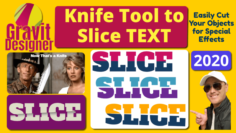 Slice or Cut Text in Half with Knife Tool in Gravit Designer Tutorial 2020