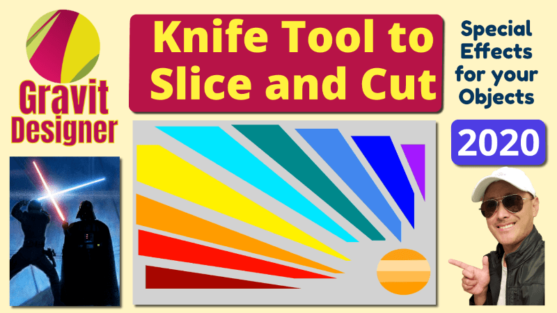Use Knife Tool to Slice Cut Vector Objects in Gravit Designer Tutorial 2020